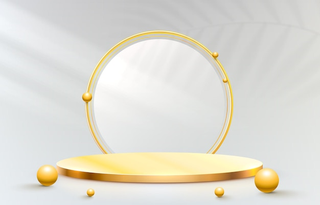 Golden stage podium and golden frame on grey background