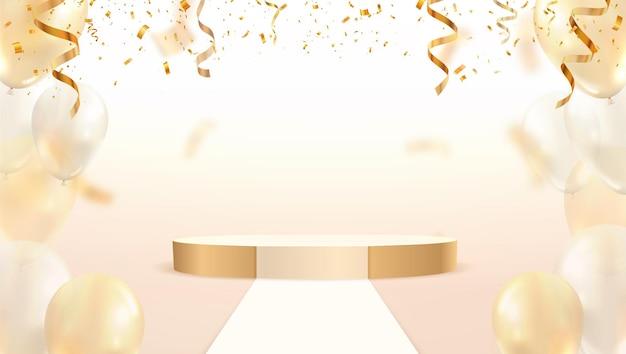 밝은 배경 패션에 화려한 색종이 조각과 풍선이 떨어지는 황금 무대 연단