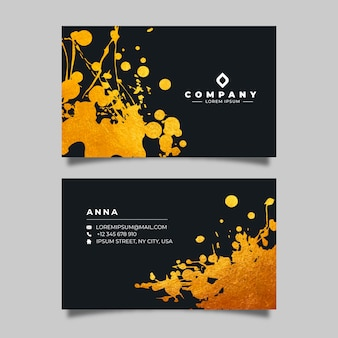 Golden stains business card template