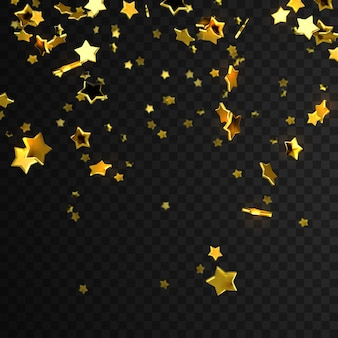 Golden star confetti isolated on transparent checkered background