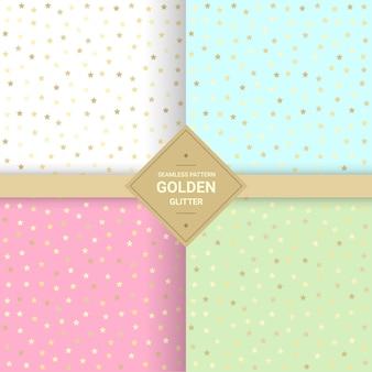 Golden star glitter seamless pattern on pastel background.