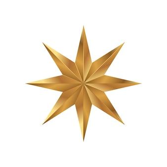 골든 스타 흰색 배경에 고립입니다. 크리스마스와 새 해에 대 한 휴일 기호입니다. 평면 벡터 일러스트 레이 션 eps10입니다.