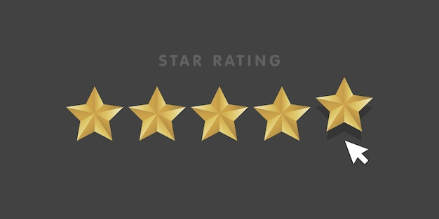 Golden star rating mouse click icon