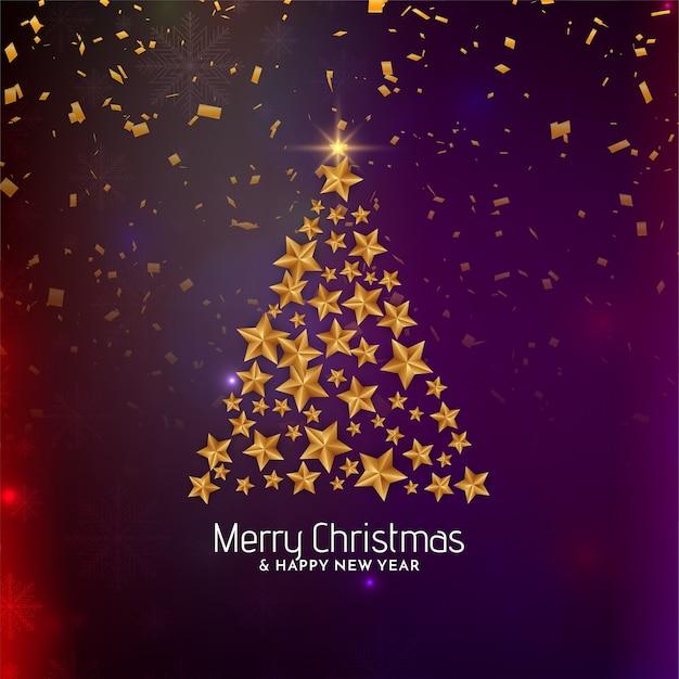 メリークリスマスの背景の黄金の星の木のデザイン