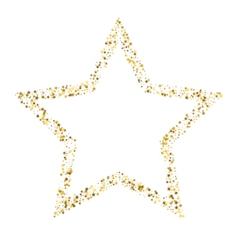Golden star vector banner on white background. gold glitter star