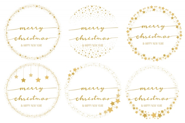 Golden star wreath with hand written merry christmas calligraphy