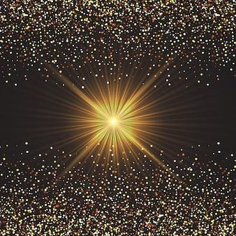 Golden starburst background with glittery confetti