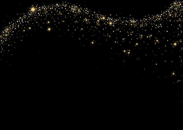 검은 배경에 황금 별이 빛나는 파도