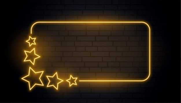 Golden stars neon glowing frame design