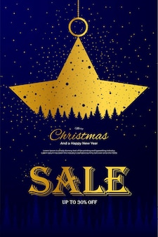 Golden stars sale promotion merry christmas and happy new year