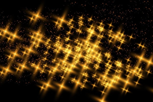 Golden stars shine with special light vector sparkles on a transparent background