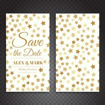 Disegno di carta di nozze delle stelle dorate