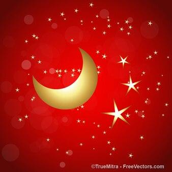 Stelle dorate con la luna su sfondo rosso