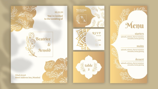 Golden stationery collection for wedding