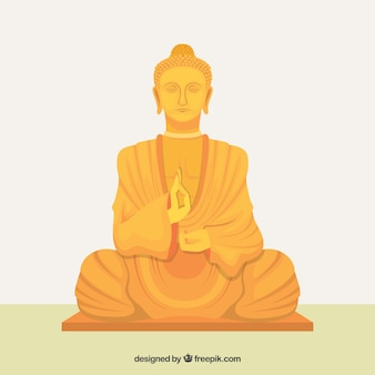 Golden statue of budha with flat design