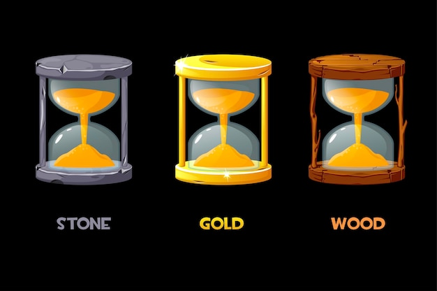 Golden, stone, wooden hourglass for measuring the time for game.