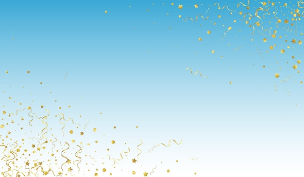 Golden streamer festive blue background. isolated confetti plant