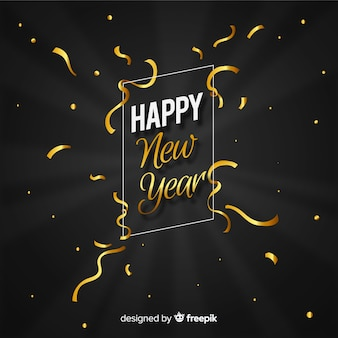 Golden streamer new year background