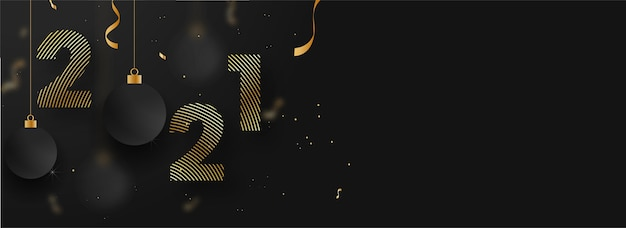 Golden strip pattern number with hanging baubles and confetti on black background.