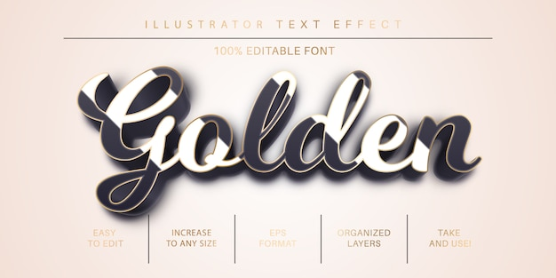 Golden stroke text style, font effect