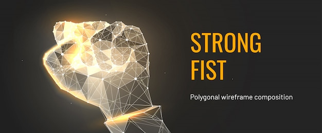 Golden strong fist in polygonal wireframe style