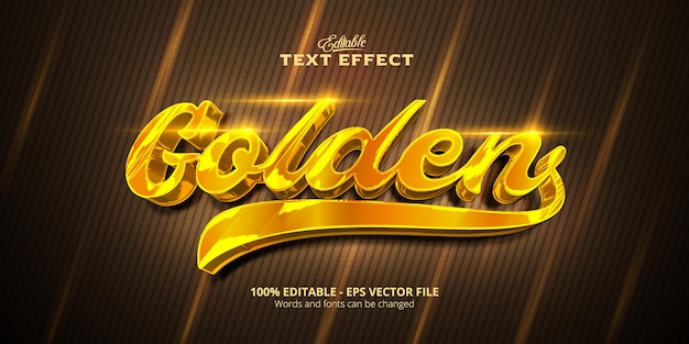 Золотой стиль, редактируемый текстовый эффект, золотой текст