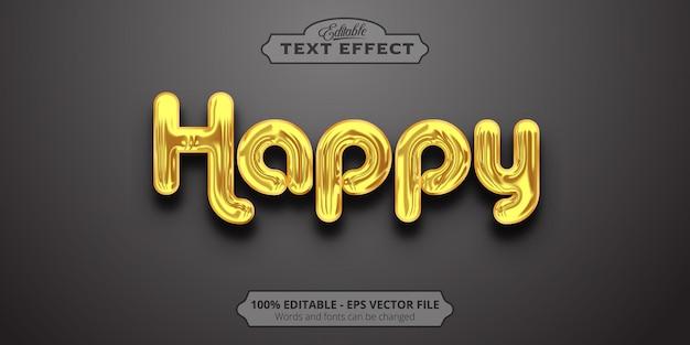 Золотой стиль, редактируемый текстовый эффект, счастливый текст