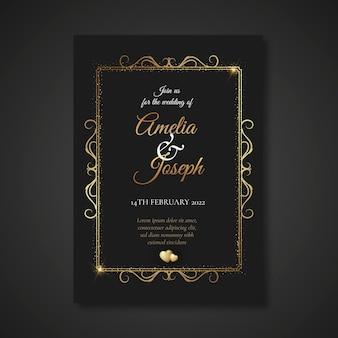 ゴールデンスタイルの結婚式の招待状のテンプレート