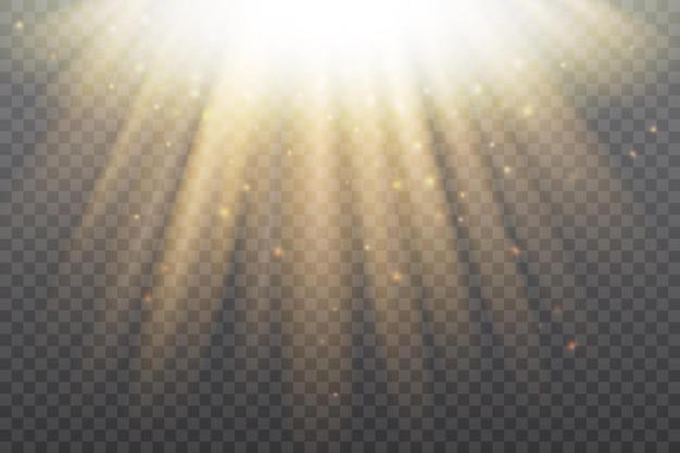 黄金の太陽の輝き光の効果放射状のフレアで輝く太陽光線の金の栄光の太陽