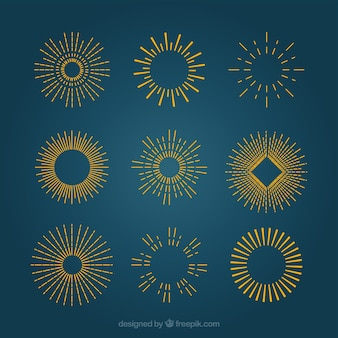 Золотой солнечных лучей в стиле ретро