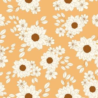 Golden sunflower and daisies pattern