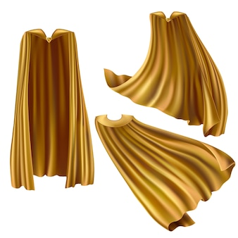 Golden superhero cape set