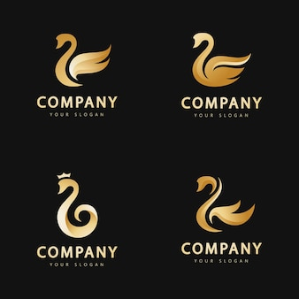 Золотой лебедь абстрактный логотип вектор шаблон