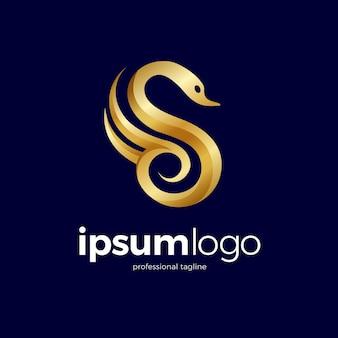 Golden swan logo Premium Vector