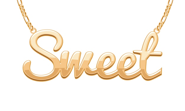 Golden sweet word pendant on chain necklace. jewelry .
