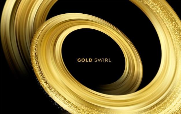 Golden swirl on black background