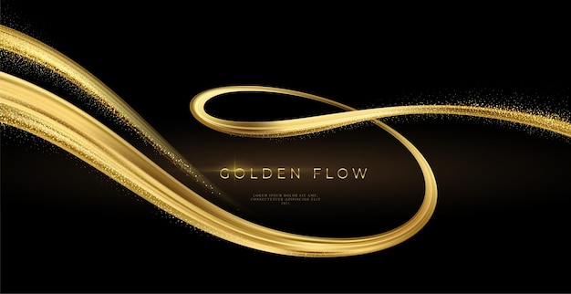 Golden swirl on black background Premium Vector