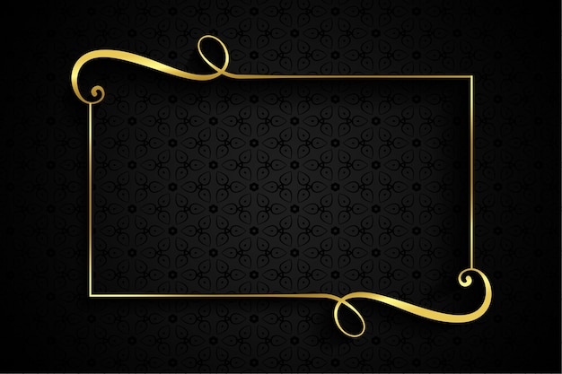 Golden swirl frame on dark background with text space