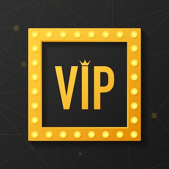 Golden symbol of exclusivity, the label vip with glitter. very important person - vip icon on dark sign of exclusivity with bright, golden glow.