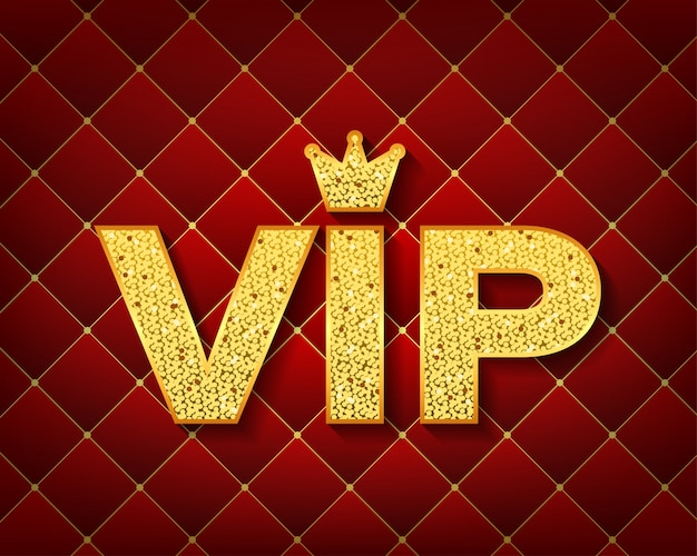Golden symbol of exclusivity  the label vip with glitter  very important person - vip icon