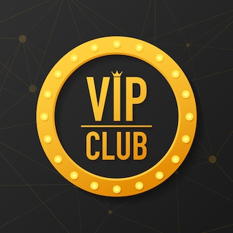Golden symbol of exclusivity, the label vip with glitter. vip club label on black
