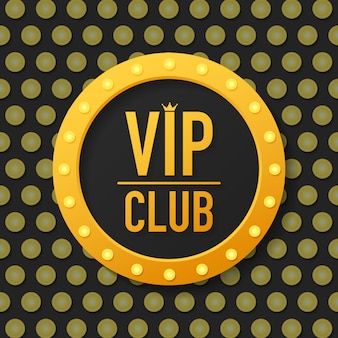 Golden symbol of exclusivity, the label vip with glitter. vip club label on black.