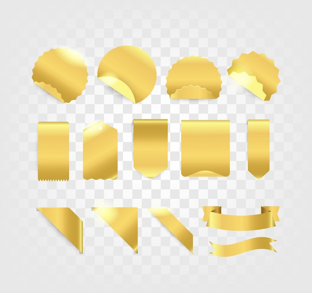 Golden tags and ribbons collection isolated on transparent background