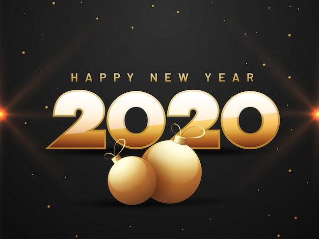 Golden text 2020 happy new year and baubles on black   greeting card .