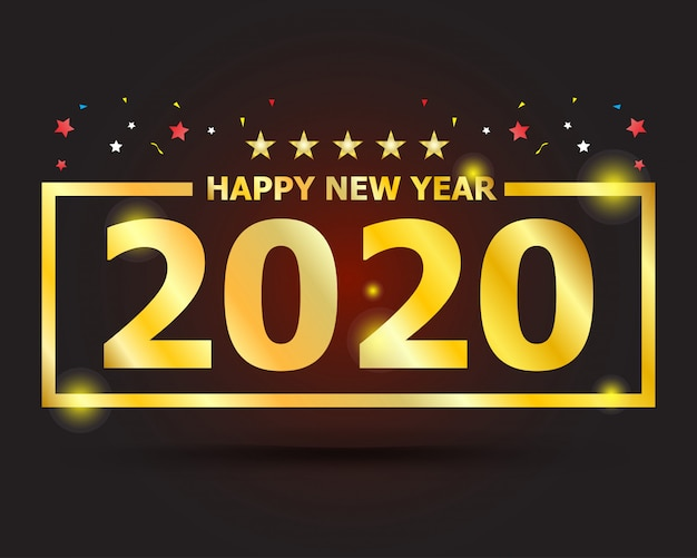 Golden text 2020 happy new year