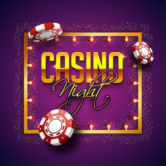 Golden text casino night with 3d chip, marquee frame on sparkling purple background.