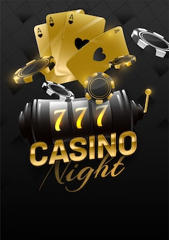 Golden text of casino night with slot machine, aces card and poker chips