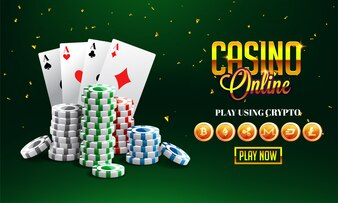 Golden text Casino Online with 3D chip
