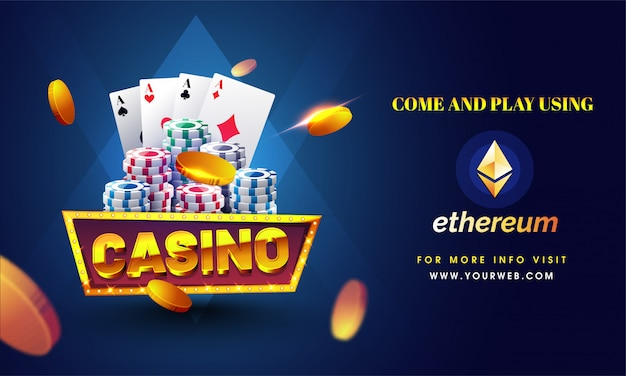 Golden text casino with 3d chip