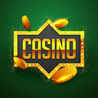 Golden text casino with golden coins, marquee frame on sparkling green background.